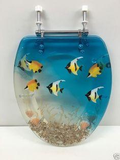 tropical fish toilet seat. Elongated Blue Aquarium Fish And Seashell Resin Toilet Seat  Chrome Hinges 58 99 Ocean themed acrylic toilet seat fish coral shells