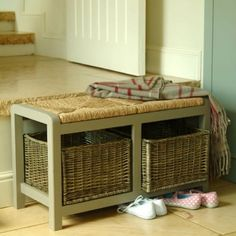 store unsightly shoes away in the neat wicker baskets under the bench.