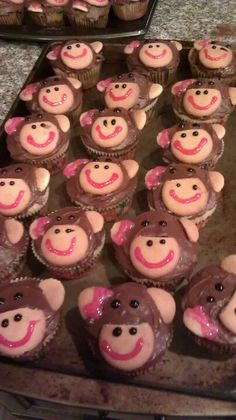 Girl monkey cupcakes for sis in laws baby shower!