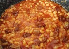 Kolbászos bab   Edike receptje - Cookpad receptek Bacon, Beans, Food And Drink, Vegetables, Vegetable Recipes, Pork Belly, Beans Recipes, Veggies