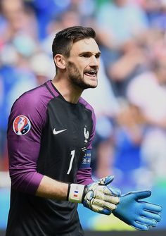 France's goalkeeper Hugo Lloris reacts during the Euro 2016 round of 16 football match between France and Republic of Ireland at the Parc Olympique Lyonnais stadium in Decines-Charpieu, near Lyon, on June / AFP / FRANCK FIFE Uefa Euro 2016, English Premier League, Republic Of Ireland, Football Match, Tottenham Hotspur, Squad, Gloves, June, Display