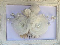 Mariage Pince cheveux fleur de mariée, Ivoire pour coiffure de mariage Cori : Accessoires coiffure par fleurs-de-provence