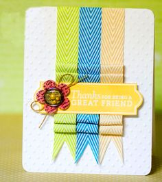 Folded Ribbon Card & a Giveaway! - May Arts Wholesale Ribbon Company Handmade Greetings, Greeting Cards Handmade, Card Making Inspiration, Making Ideas, Cool Cards, Diy Cards, Stamp Storage, Ribbon Cards, Cards For Friends