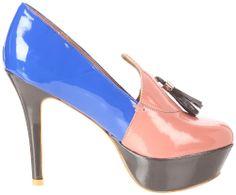 LOVELY PEOPLE AGNES Platform PUMP Loafer Shoe Pink Blue Vegan Patent Heel 6.5 36 #LovelyPeople #PlatformsWedges
