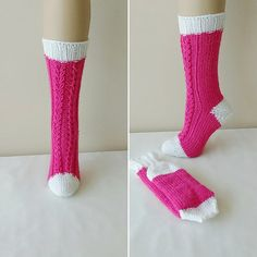 Pink Hand knit  socks. House knee socks. Woman girl by NesrinArt