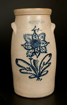 4 Gal. JOHN BURGER / ROCHESTER Stoneware Churn with Elaborate Floral Decoration -- March 1, 2014 Stoneware Auction by Crocker Farm, Inc.