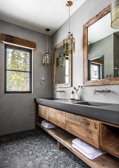 Bathroom Concrete Floor, Pebble Floor, Concrete Shower, Concrete Walls, Wood Bathroom, Modern Bathroom, Small Bathroom, Bathroom Ideas, Downstairs Bathroom