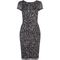 Adrianna Papell Cap Sleeve Beaded Cocktail Dress, Charcoal ($255) ❤ liked on Polyvore featuring dresses, sequin cocktail dresses, cap sleeve dress, bodycon dress, sheer cocktail dress and cocktail dresses