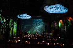 Set design by Soo Wilkinson for immersive dining event 'Nightgarden' at Camp & Furnace in Liverpool. Skate Park, Set Design, Peace And Love, Liverpool, Design Projects, Neon, Camping, Dining, Stage Design