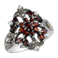 Garnet Fire Burst Silver Natural Seed Pearl Ring