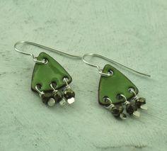 Green Dangle Earrings  glass enamel on copper by KathrynRiechert
