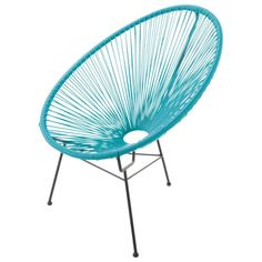 The Copacabana turquoise armchair is a round armchair in wicker set on black metal legs.