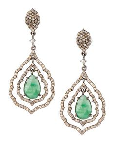 Scalloped Emerald & Diamond Drop Earrings by Bavna at Neiman Marcus Last Call.