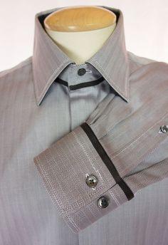 PAL ZILERI Mens Dress Shirt Size 41 16 L Brown Gray Herringbone Work #PalZileri