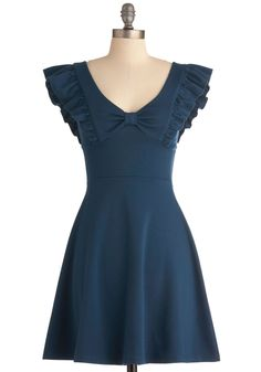 A-maizing Harvest Dress in Blue Corn - Mid-length, Blue, Solid, Bows, Ruffles, Party, A-line, Cap Sleeves