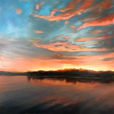 """Daily Paintworks - """"Evening on Lake Murray"""" - Original Fine Art for Sale - © Thomas O'Brien Art Paintings, Landscape Paintings, Landscapes, Gallery Website, Ocean Sunset, Sky Art, Large Painting, Fine Art Gallery, Art World"""