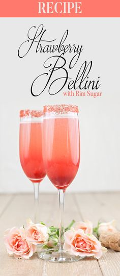 Valentine's Day Cocktail - Strawberry Bellini with Rim Sugar - I'm a sucker for champagne and flowers on Valentine's Day (and pretty much every day of the year). But if you're like me and trying to create champagne cocktail (that's not cloyingly sweet) for the one you love - then go with a batch of Strawberry Bellinis with our Strawberry Flavored cocktail rim sugar.