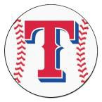 MLB Texas Rangers White 2 ft. 3 in. x 2 ft. 3 in. Round Accent Rug