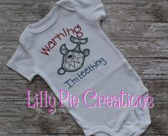 """Now we know he has to have a shark shirt from me!  (""""Warning I'm Teething"""" Shark by LillyPieCreations)"""