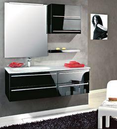 Composizione 3 cm 126. Laccato Nero brillante con lavabo in Vetrofuso extrachiaro bianco. Euro Bagno arredobagno e Mobili da bagno bathroom furniture since 1973.