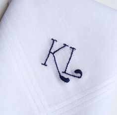 Monogrammed Handkerchief. Personalized Gift with Initials. Mens Handkerchief