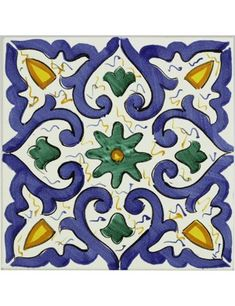 Terracotta di Sicilia -   Categorie prodotto  Altri Arredi Tuscan Kitchen Design, Italian Tiles, Spanish Art, Stenciled Floor, Stained Glass Flowers, Iranian Art, Clay Tiles, Tile Patterns, Geometric Art