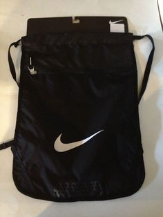 NIKE DRAWSTRING ZIPPERED GYM BAG BLACK/BLACK BACKPACK BAG, SACK NIKE SWOOSH #Nike #DrawstringBackpack