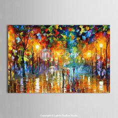 peintures à l'huile toile peinte à la main de la rue des pluies paysage moderne prêt à accrocher de 2015 à €54.14