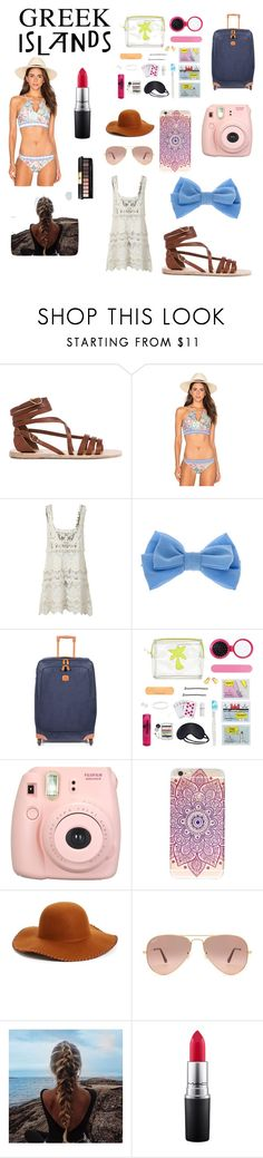 """""""Greek packing and wear"""" by bake123 ❤ liked on Polyvore featuring Ancient Greek Sandals, Nanette Lepore, claire's, Bric's, Lipsy, Fujifilm, Phase 3, Ray-Ban, MAC Cosmetics and Yves Saint Laurent"""