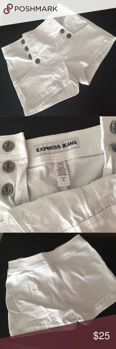 Express shorts size 4 Express white high waist shorts size 4. Buttons on both hips no pockets in back. Express Shorts