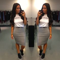 Casual White T Shirt Gray Midi Skirt Black Sneakers