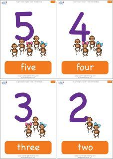 """Flashcards for the Super Simple Learning version of """"Five Little Monkeys."""" #preK #Kindergarten #ESL"""