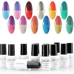 Nail Color Ideas Perfect Summer Temperature Colors Changes Gel Nail Polish 12 PCS Nobility UV/LED Soak Off Nail Artistic Lacquers French Manicure Starter Kits