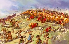 Battle of Esfecteria. Peloponesian War. Light infantry skirmishers attack the Spartan phalanx.
