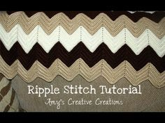 Crochet Ripple Stitch Afghan Tutorial Ripple Stitch Pattern: http://www.amyscrochetpatterns.com/2016/11/crochet-ripple-afghan-with-video.html Please leave a ...