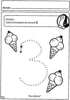 Atividades com numerais de 1 a 5 para a Educação Infantil - Maternal                                                                        ... Activities For 2 Year Olds, English Activities, Color Activities, Preschool Activities, Numbers Preschool, Preschool Printables, Preschool Worksheets, Line Tracing Worksheets, Handwriting Worksheets