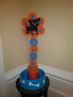 Pool noodle decoration for a kids birthday party: puppy party
