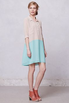 Bi-Tonal Shirtdress #anthropologie