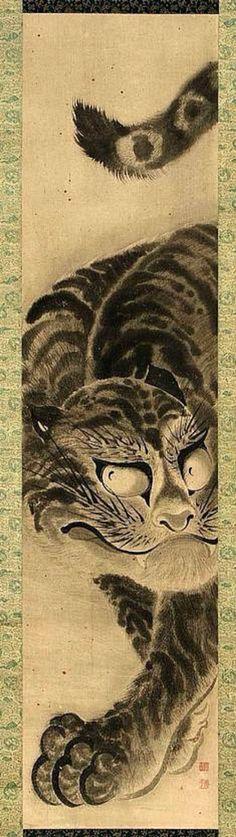 "Tiger figure (Tora zu 虎図), Edo period, 18th century, a hanging scroll by Soga Shôhaku (Japanese, 1730–1781). Ink on paper; 119.1 x 28.6 cm (46 7/8 x 11 1/4"")"
