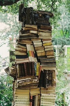 Old books that were left out in the rain