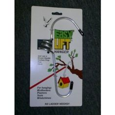 """Easy Lift Hangers 5"""" EZ Lift Hanger by Easy Lift Hangers. $9.95. pole. Actual Weight: 1.50 .lbs. Actual Dimensions: Depth - 1.50 ; Width - 4.00 ; Length - 8.00. EZ hangers. stick. Features:  Innovative design makes it easy to hang and take down a feeder.  Hooks over objects up to two inches in diameter.  Easy and convenient."""