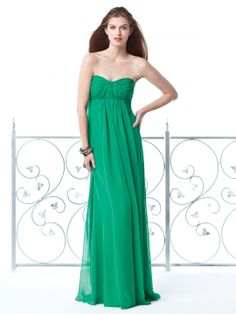 Full length strapless lux chiffon dress w/ empire waist and shirred bodice and panel over A-line skirt.