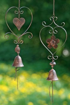 Metal Heart Mobile with Bell