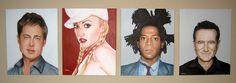Portrait Paintings by Venus. Brad Pitt, Gwen Stefani, Jean-Michel Basquiat, Robin Williams. 16 x 20. Acrylic on canvas. https://www.etsy.com/shop/PaintingsbyVenus?ref=l2-shopheader-name #art #paintings #portraitpainter