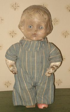 Antique Composition Doll With Early Blue And by aprimitiveplace,