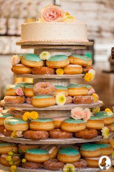 Doughnut Wedding Cake. A Rustic Wedding with a Unique Wedding Cake - A Must See! - Bridal Insider