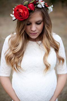 Twin Maternity Pictures. White lace maternity dress. Flower crown.