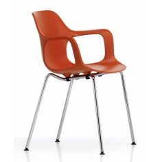 This armchair version of the Vitra Hal Tube chair is available In both stacking and non stacking versions in various seat colour options. Buy Vitra chairs at Utility. Cool Chairs, Side Chairs, Kitchen Chairs, Dining Chairs, Vitra Chair, Concrete Table, Wood Arm Chair, Brick Colors, Swinging Chair