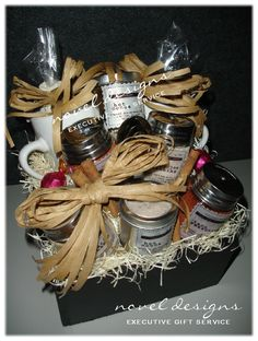 Spice Gift Basket Box - Homemade Taco Seasoning, Sloppy Joe Mix, Cinnamon Sugar Mix, BBQ Rub, Hot Cocoa, Marshmallows, Cinnamon Sticks, Two Ceramic Mugs, Measuring Spoons and Chocolate Truffles. Designed by Novel Designs Executive Gift Service of Las Vegas.
