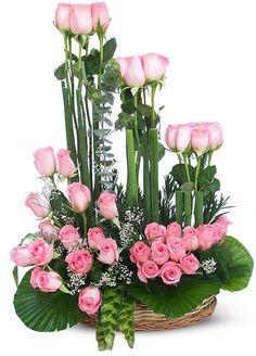 50 Pink Roses Designer Basket